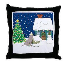 Christmas Lights Black Lab Throw Pillow