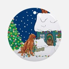 Christmas Lights Irish Setter Ornament (Round)