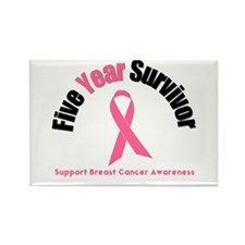 5 Year Breast Cancer Survivor Rectangle Magnet