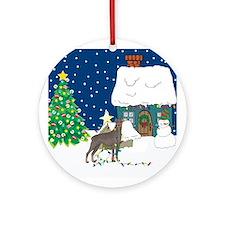 Christmas Lights Doberman Ornament (Round)