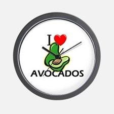 I Love Avocados Wall Clock