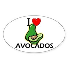 I Love Avocados Oval Decal
