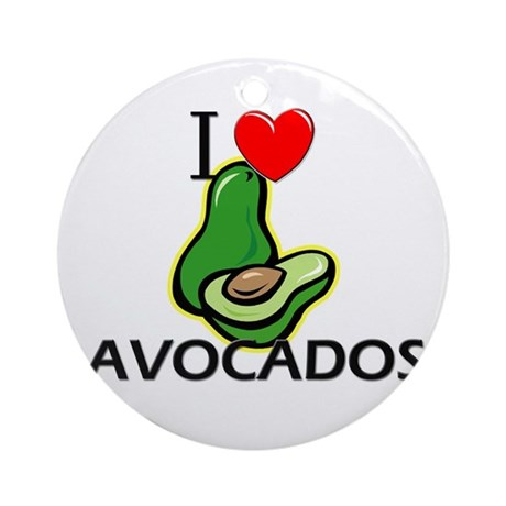 I Love Avocados Ornament (Round)