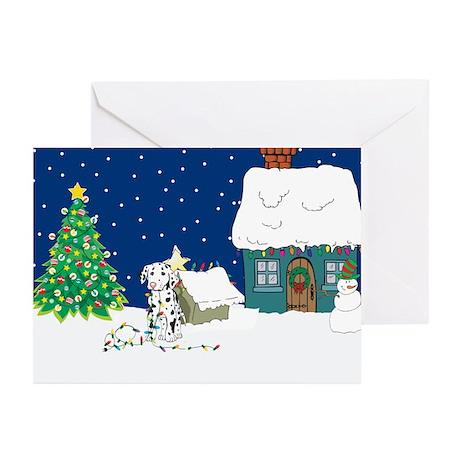 Christmas Lights Dalmation Greeting Cards (Pk of 1