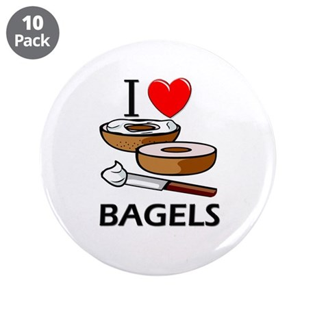 """I Love Bagels 3.5"""" Button (10 pack)"""