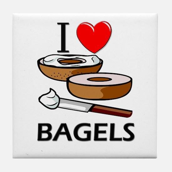 I Love Bagels Tile Coaster