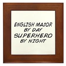 English Major Superhero by Night Framed Tile