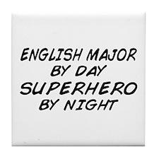 English Major Superhero by Night Tile Coaster