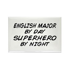English Major Superhero by Night Rectangle Magnet