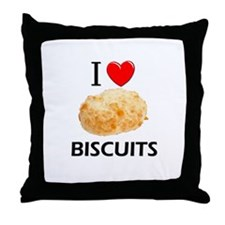 I Love Biscuits Throw Pillow