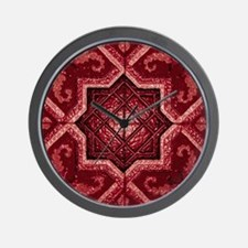 Abstract 7 (Red) Wall Clock