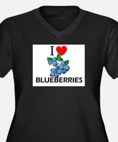I Love Blueberries Women's Plus Size V-Neck Dark T