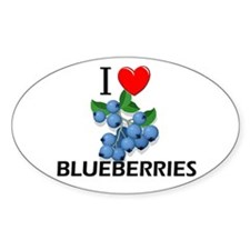 I Love Blueberries Oval Decal