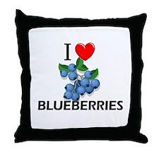 I Love Blueberries Throw Pillow