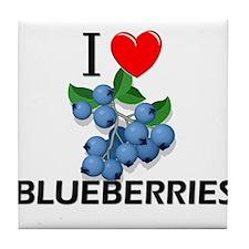 I Love Blueberries Tile Coaster