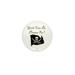 Girls Can Be Pirates Too Mini Button (10 pack)