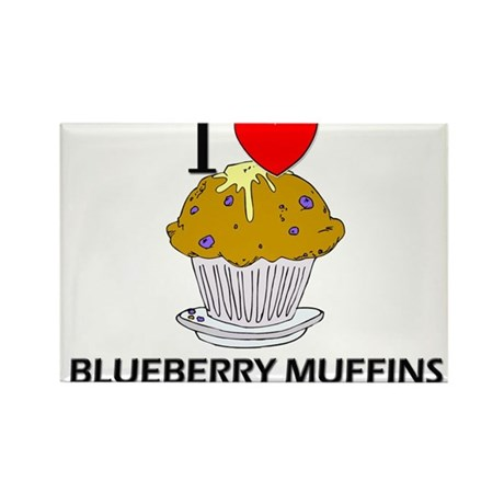 I Love Blueberry Muffins Rectangle Magnet