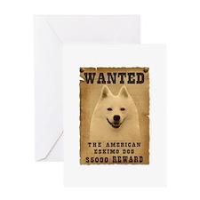 """Wanted"" American Eskimo Dog Greeting Card"