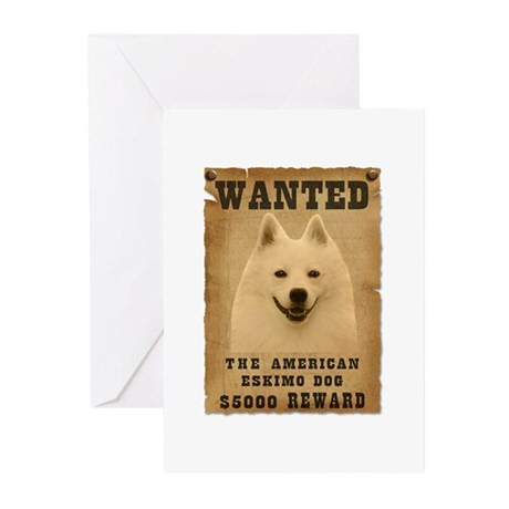 """Wanted"" American Eskimo Dog Greeting Cards (Pk of"