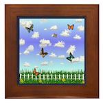 Field of Butterflies Framed Tile