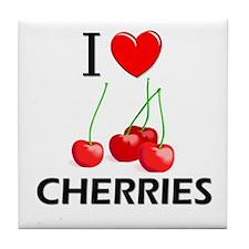I Love Cherries Tile Coaster