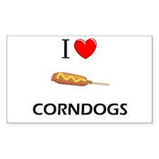 I Love Corndogs Rectangle Decal