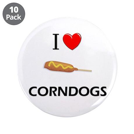 """I Love Corndogs 3.5"""" Button (10 pack)"""
