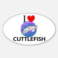 I Love Cuttlefish Oval Decal