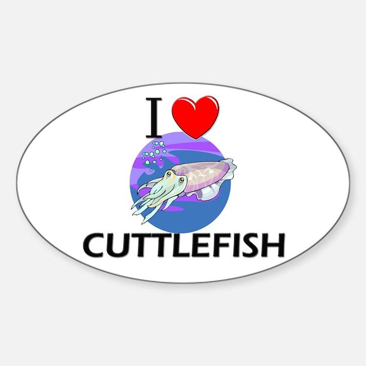 I Love Cuttlefish Oval Decal
