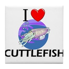 I Love Cuttlefish Tile Coaster