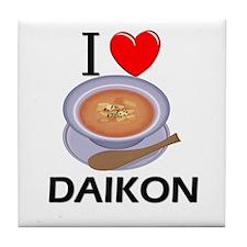 I Love Daikon Tile Coaster