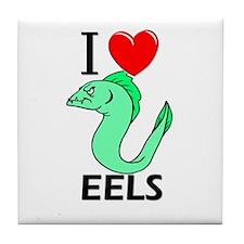 I Love Eels Tile Coaster