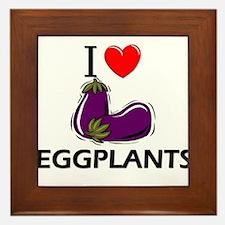 I Love Eggplants Framed Tile