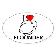 I Love Flounder Oval Decal
