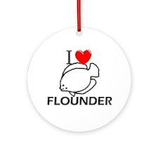 I Love Flounder Ornament (Round)