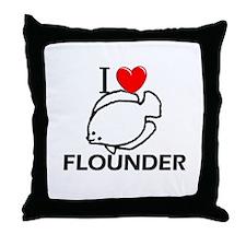 I Love Flounder Throw Pillow