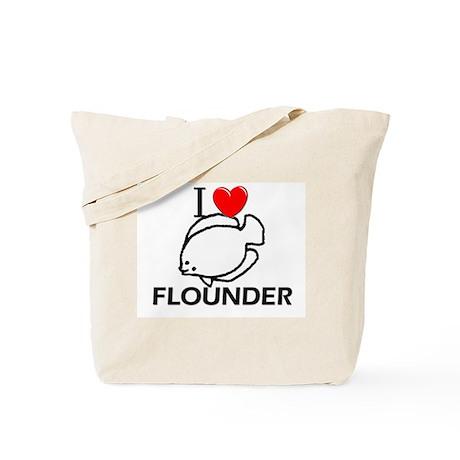 I Love Flounder Tote Bag