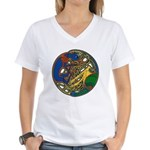 Celtic Hound & Bird Knot Women's V-Neck T-Shirt