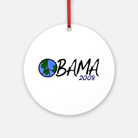 Obama 2008 (Peace on Earth) Ornament (Round)