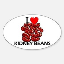 I Love Kidney Beans Oval Decal