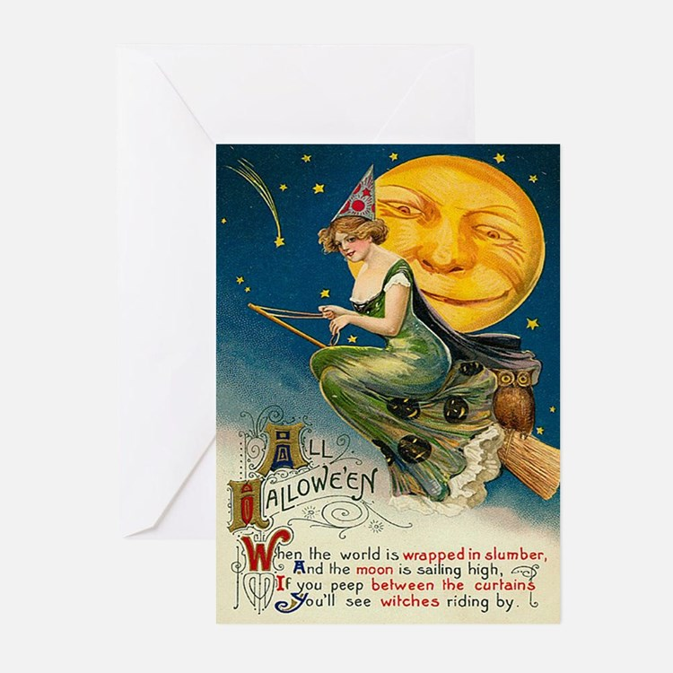 Halloween Witches Riding By Greeting Cards (Pk of