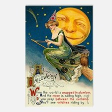 Halloween Witches Riding By Postcards (Package of