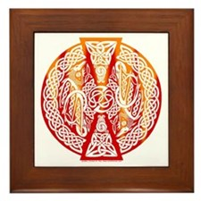 Celtic Knotwork Dragons Fire Framed Tile