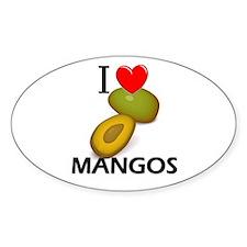 I Love Mangos Oval Decal
