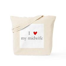 I love (heart) my midwife Tote Bag
