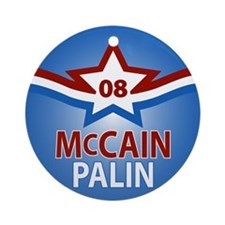 McCain Palin Star Ornament (Round)