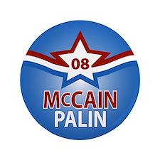 """McCain Palin Star 3.5"""" Button"""