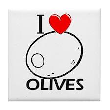 I Love Olives Tile Coaster