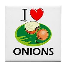 I Love Onions Tile Coaster