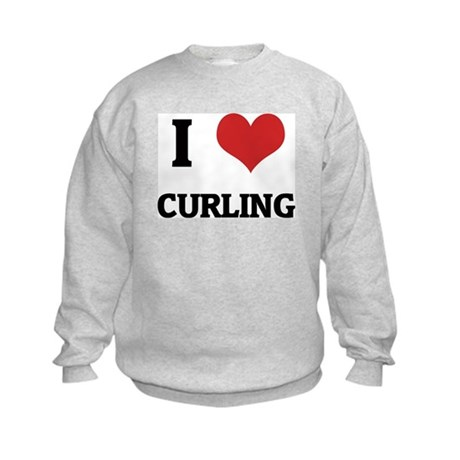 I Love Curling Kids Sweatshirt